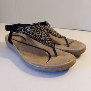 Italina Black with Rhinstones Thong Wedge Sandal